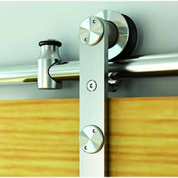 Round Rail Stainless Steel Barn Door Hardware Soft Close